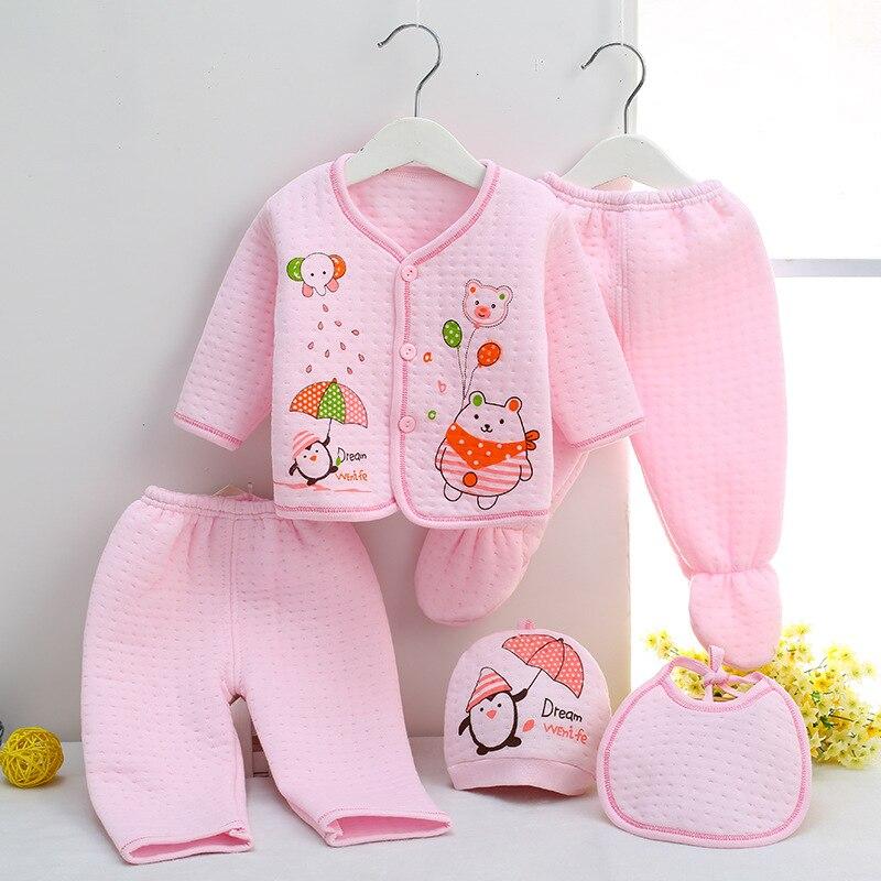 bec4c2eec Neonatal Warm Underwear 5 Pieces Set Newborn Baby Clothing Set Clothes  Suits 100% Cotton Character Infant Winter Clothes