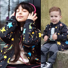 3-7Y Baby Girl Boy Winter Jacket Spring And Autumn Thin Jacket Star Print Zipper Long Sleeve Kids Outerwear Coat CX902961