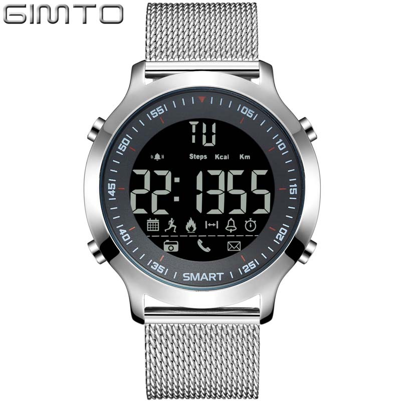 Smart Watch men GIMTO Waterproof 3ATM Message Reminder Ultra-long Standby watch LED Electronic Clock Relogio Masculino