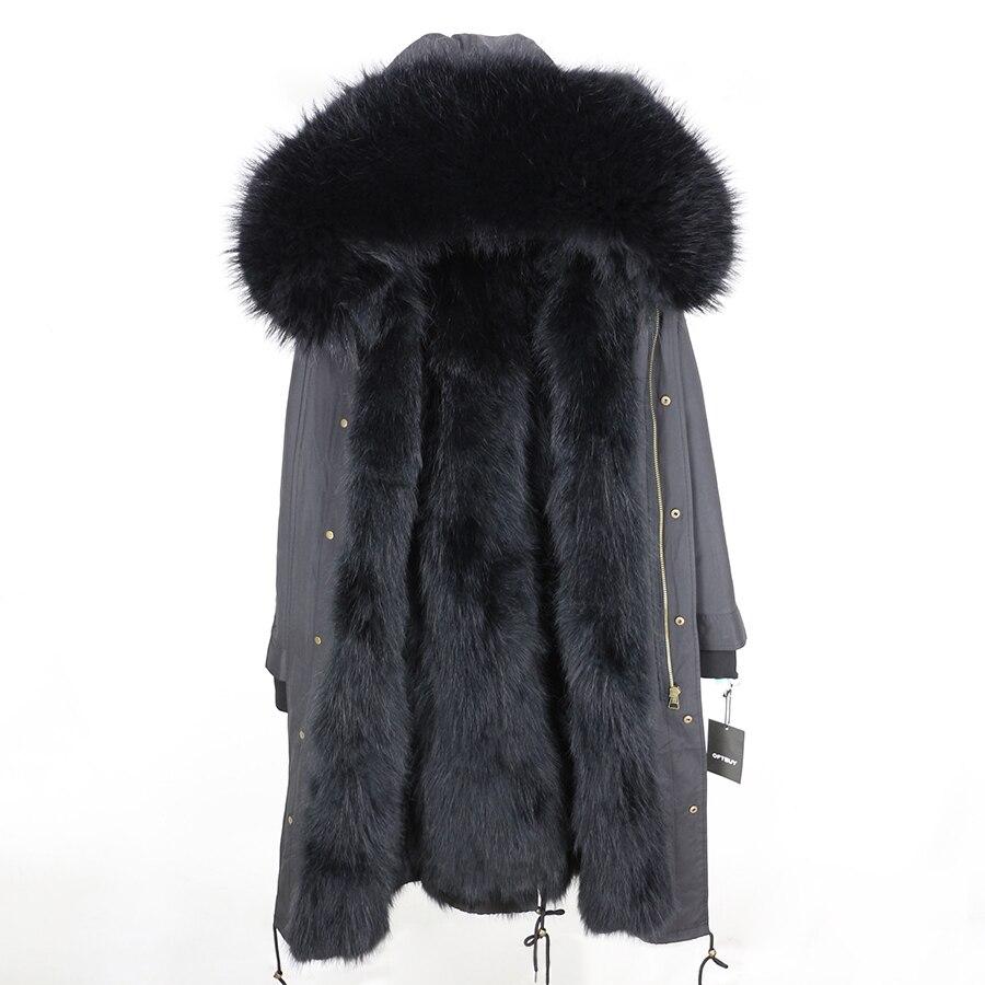 2019 Real Fur Coat Winter Jacket Women Long Parka Waterproof Big Natural Raccoon Fur Collar Hood Thick Warm Real Fox Fur Liner 113