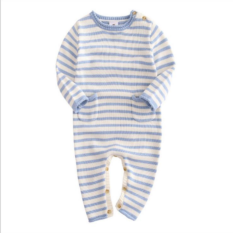 New Baby Rompers Striped Cotton Coveralls 2017 Wool Knitted Clothes Boys&Girls Jumpsuits Hot Cute Baby Clothing baby rompers newborn clothes baby clothing set boys girls brand new 100%cotton jumpsuits short sleeve overalls coveralls bebe