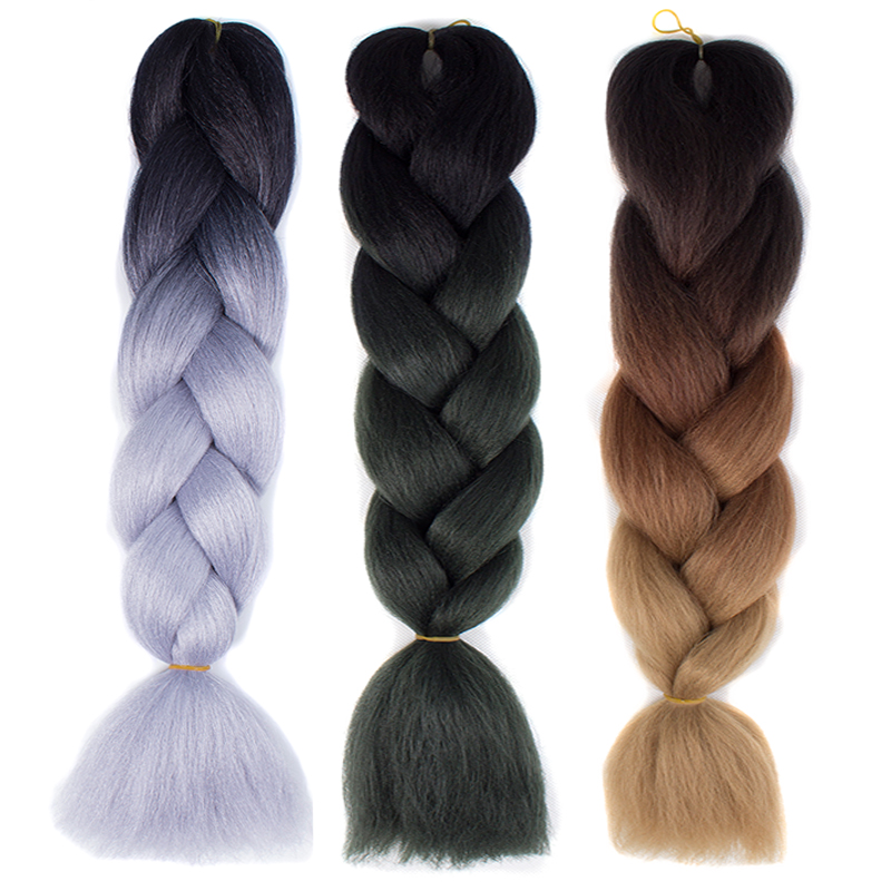 Your Style 24 100g/pc Ombre Kanekalon Braiding Hair Synthetic Jumbo Crochet Braids Color Hair Extensions Blue Black Brown ...
