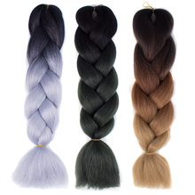 """Your Style 24"""" 100g/pc Ombre Kanekalon Braiding Hair Synthetic Jumbo Crochet Braids Color Hair Extensions Blue Black Brown"""
