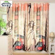 Ojal de Metal Anticorrosivo MYRU Nueva York Estatua de la Libertad cortinas opacas cortinas del dormitorio y sala de estar 3D