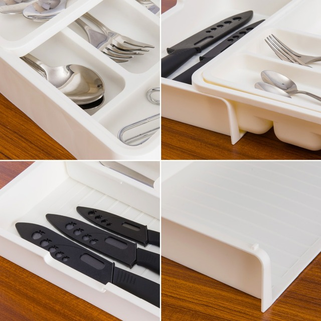 Creative Kitchen Tableware Drawer Cutlery Spoon Chopsticks Classification Plastic Storage Tableware Box Sort Out Design