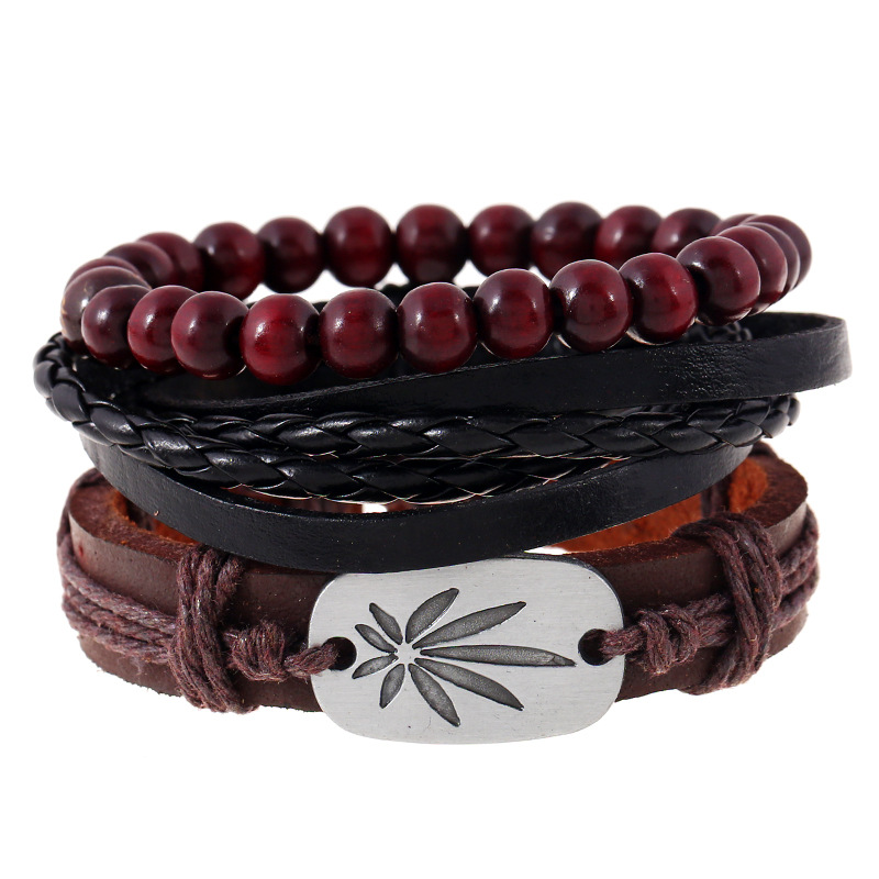 Multi Layer Alloy Leaf Charm Genuine Leather Braided Wooden Beads Women Vintage Bracelets 3 Pieces/Set Punk Style Jewelry