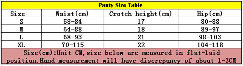 bra set panty size table