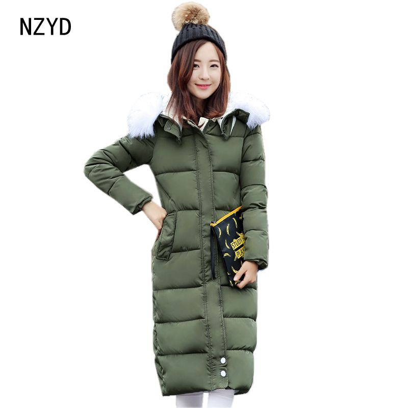 2017 New Winter Women Cotton-Padded Jacket Fashion Hooded Warm Long Parkas Casual Long sleeve Slim Big yards Coat LADIES179 2017 new winter fashion women parkas hooded thick super warm medium long coat casual slim big yards cotton padded jacket nz308