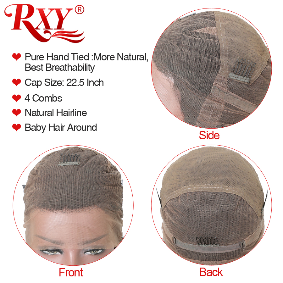 RXY Pre Plucked Full Lace Human Hair Wigs For Women Brazilian Body Wave Glueless Full Lace Wigs With Baby Hair Remy Black Hair (5)