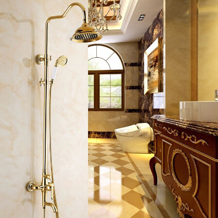 Free shipping Wholesale And Retail Luxury Gold Brass Shower Faucet Set Single Ceramic Handle Tub Mixer Hand Shower