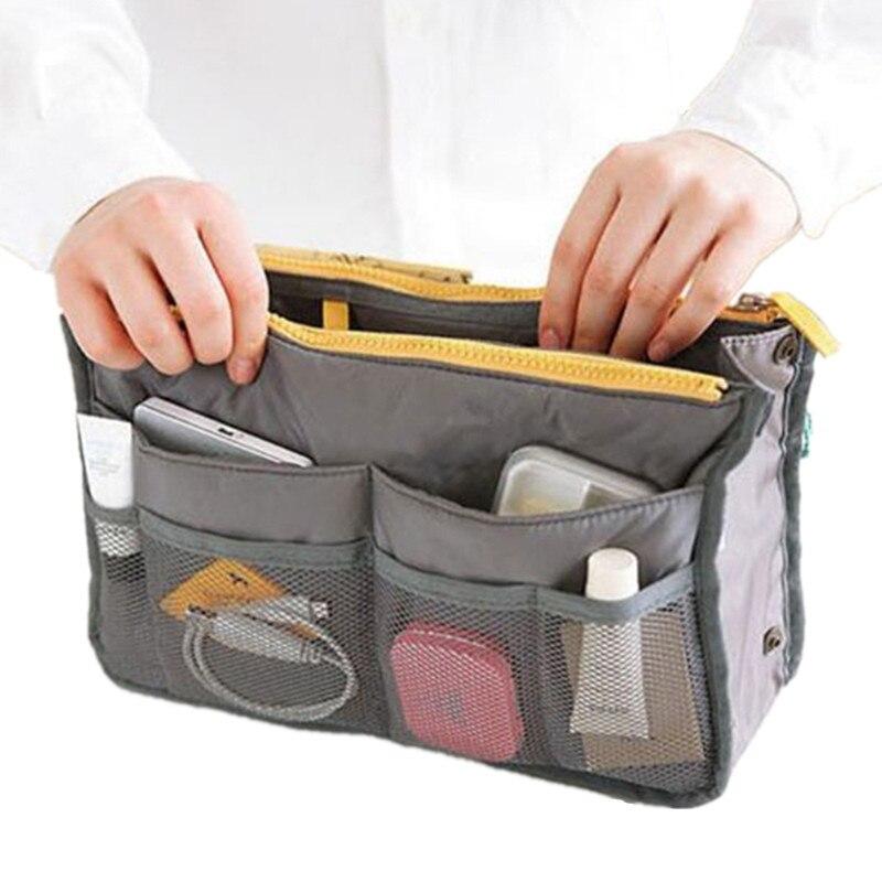 2017 Women Makeup Organizer Bag Handbag Purse Large liner Travel Insert Lady Casual Cosmetic Bag Travelling Bag Multifunction