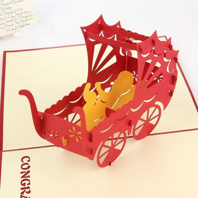 1809 10 Pcslot Bébé Voiture 3d Pop Carte Bébé Douche Kirigami Origami Papier Artisanat 3d Laser Découpé Anniversaire Cartes Postales