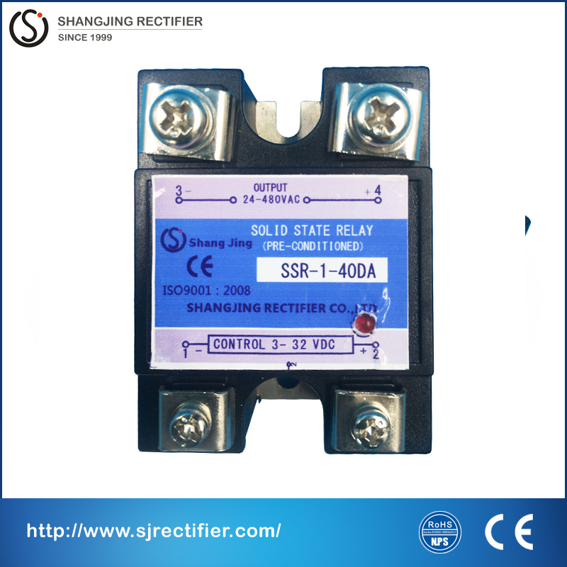 (relay solid ) SSR DC control AC current 40A single phase industry solid state relay ssr 40da input 3~32VDC output 35~480VAC ssr 40da single phase solid state relay white silver