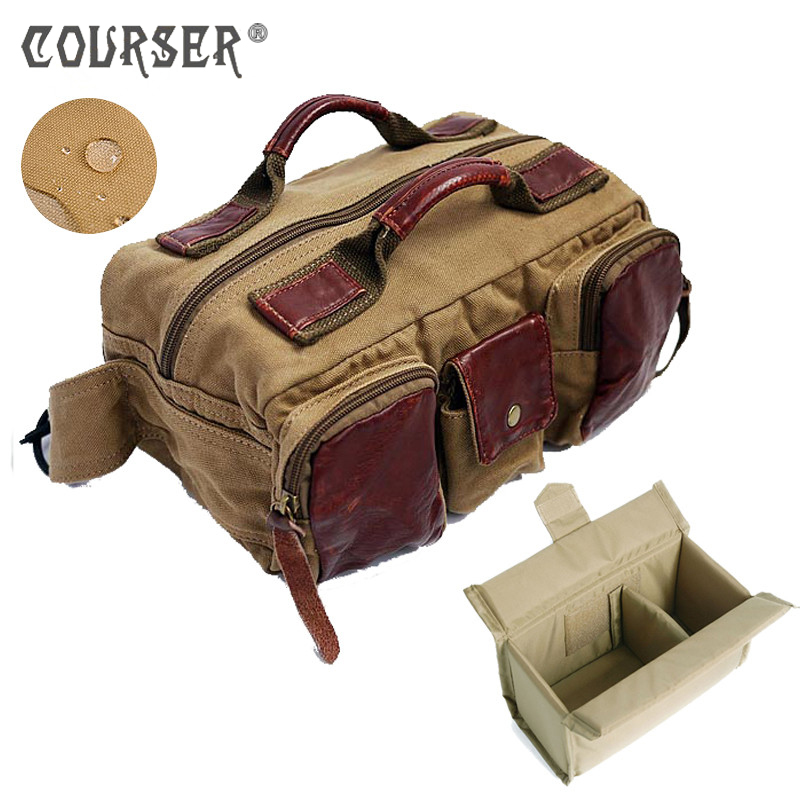 COURSERR Photography Waist Packs with Paitition Padded Canvas DSLR Digital Photo Camera Waist Packs Waist Bag for Outdoor Travel цена