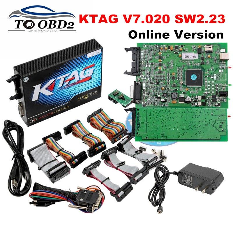 Цена за Новинка 2017 года KTAG V7.020 прошивки последние SW2.23 интернет-версия k тег 7.020 Нет Жетоны ограниченной добавить 140 протоколов, чем K-TAG 6.070