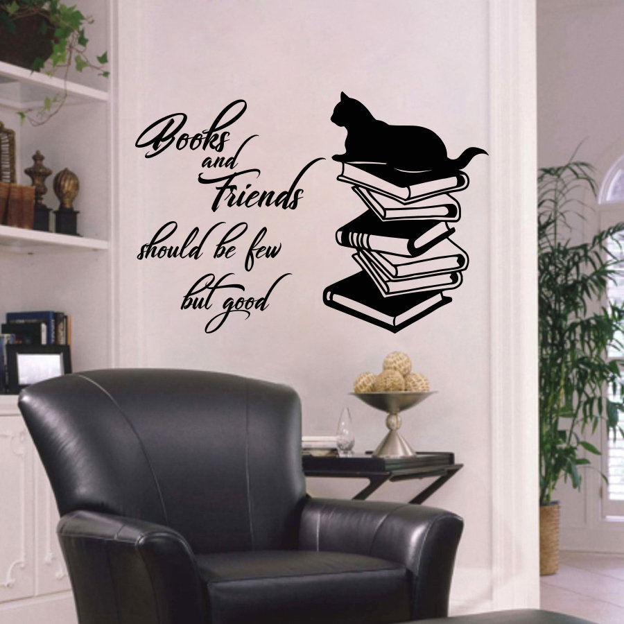 Books Vinyl Decal Quote Book Bookstore Library Room Wall Stickers Mural Removable Wallpaper For Coffee Shop Classroom Decor L590 Home & Garden Home Decor