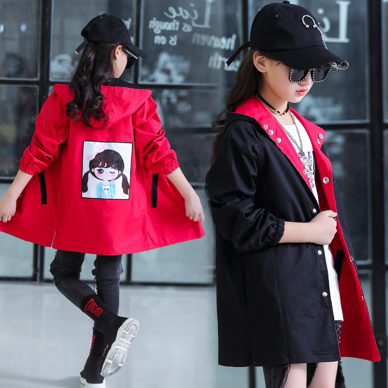 Autumn 2019 girls new Korean version of the coat in the big boy spring 5-14 years old childrens long Outdoor windbreakerAutumn 2019 girls new Korean version of the coat in the big boy spring 5-14 years old childrens long Outdoor windbreaker