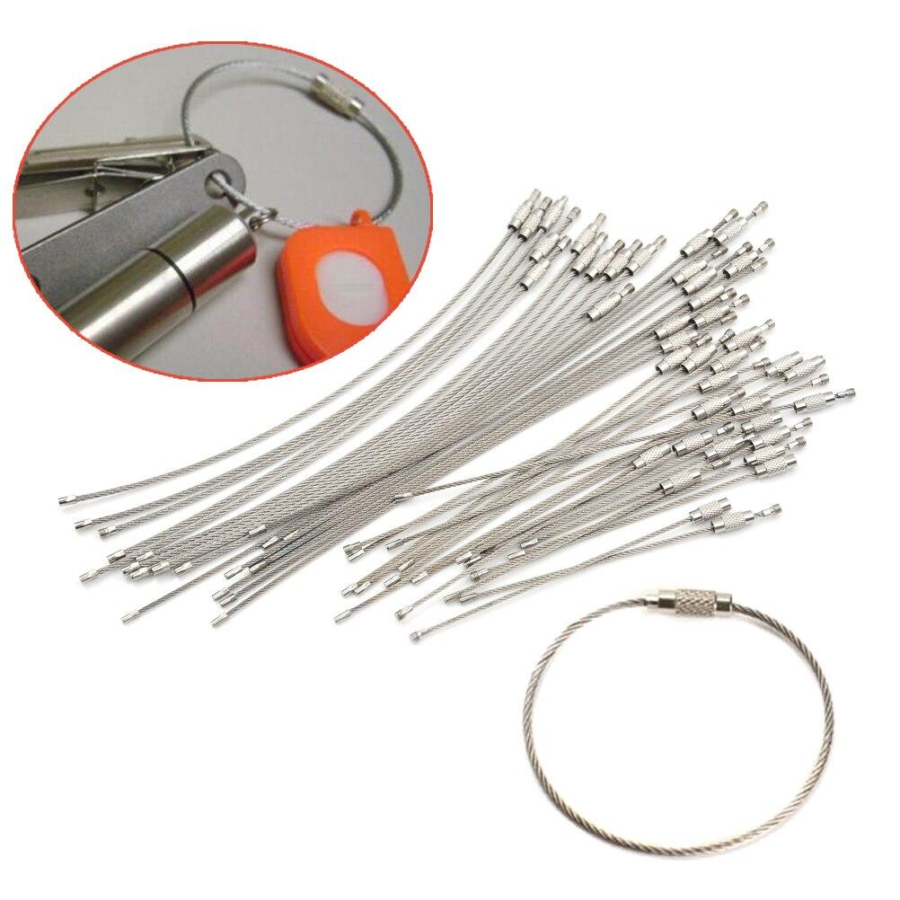 10 pces 1.5/2mm edc chaveiro tag corda fio de aço inoxidável cabo laço parafuso bloqueio gadget anel chave círculo acampamento pendurado ferramenta