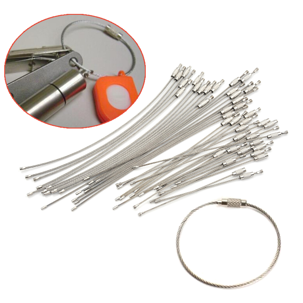 10Pcs 1.5/2mm EDC Keychain Tag Rope Stainless Steel Wire Cable Loop Screw Lock Gadget Ring Key Keyring Circle Camp Hanging Tool