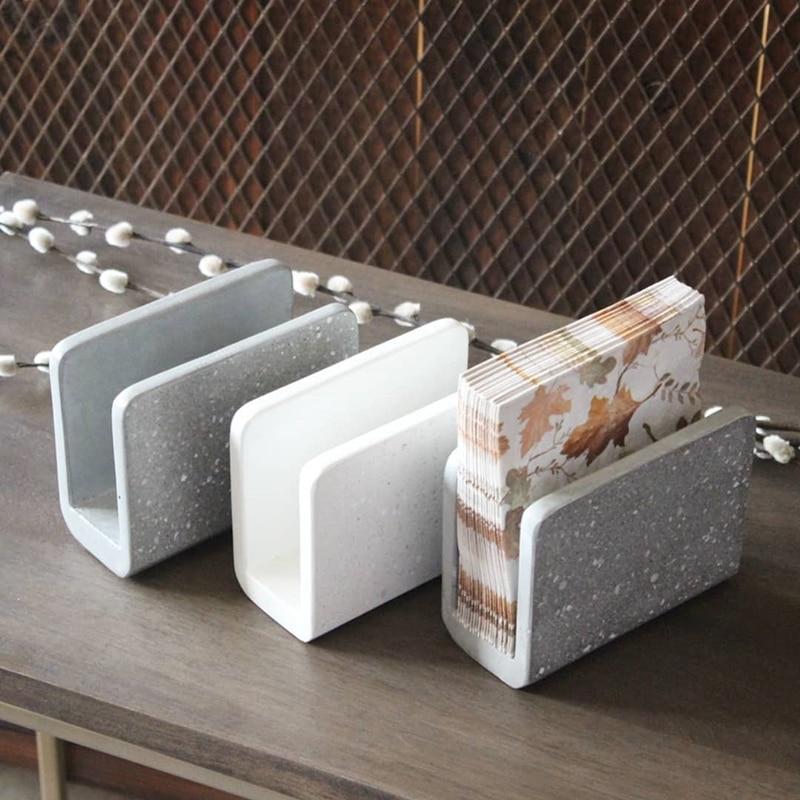 Concrete tissue box silicone mold cement towel box creative plaster concrete handicraft mould for home ecoration