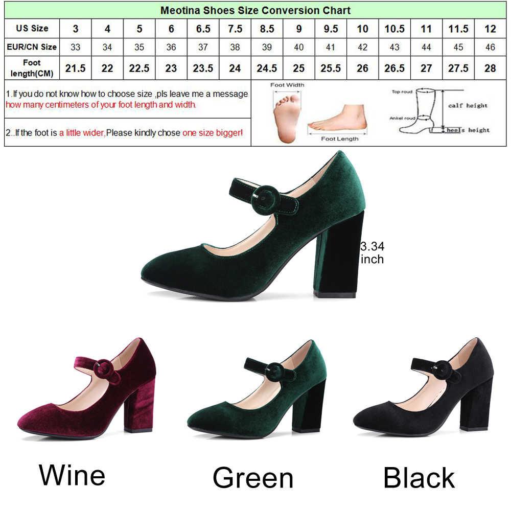 d12138517c0 ... Meotina Velvet Shoes Women Pumps High Heels Ladies Mary Jane Shoes  Buckle Black Thick Heels 2018