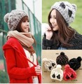 ladies''s fashion shiny bowknot Knitted hat Beanie Cap earmuff Autumn Spring Winter multi colors option
