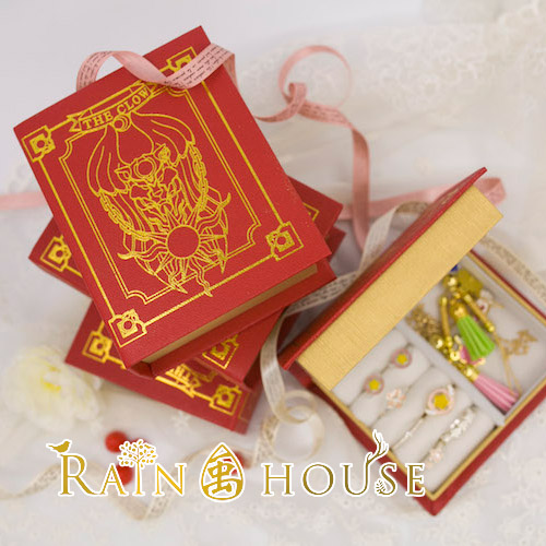 1pc Cute Tarot Card Books Pattern Mini Jewelry Box Stroage Box Anime