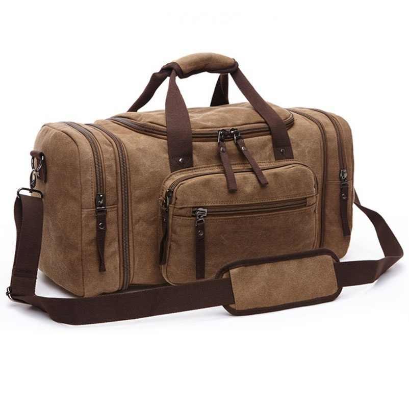 Vintage Canvas Men Travel Bags Women Weekend Carry on Luggage   Bags  Leisure Duffle Bag Large 883e2e5e53570