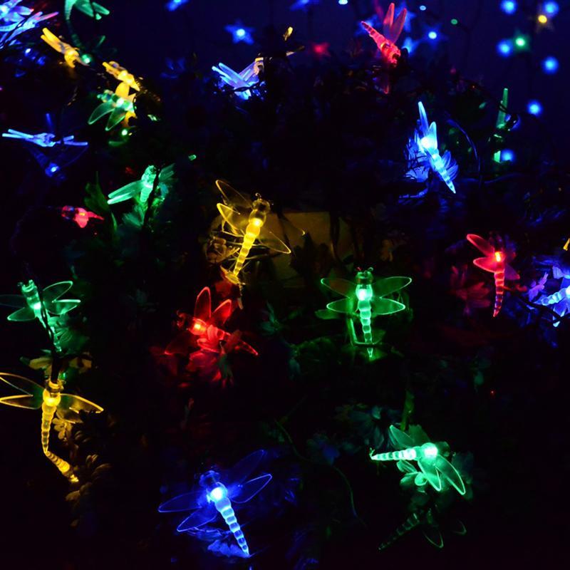 Солнечного света строки 30 светодиодный multi Цвет стрекоза солнечные Освещение для вечерние наружной отделки Фея Солнечный свет строки