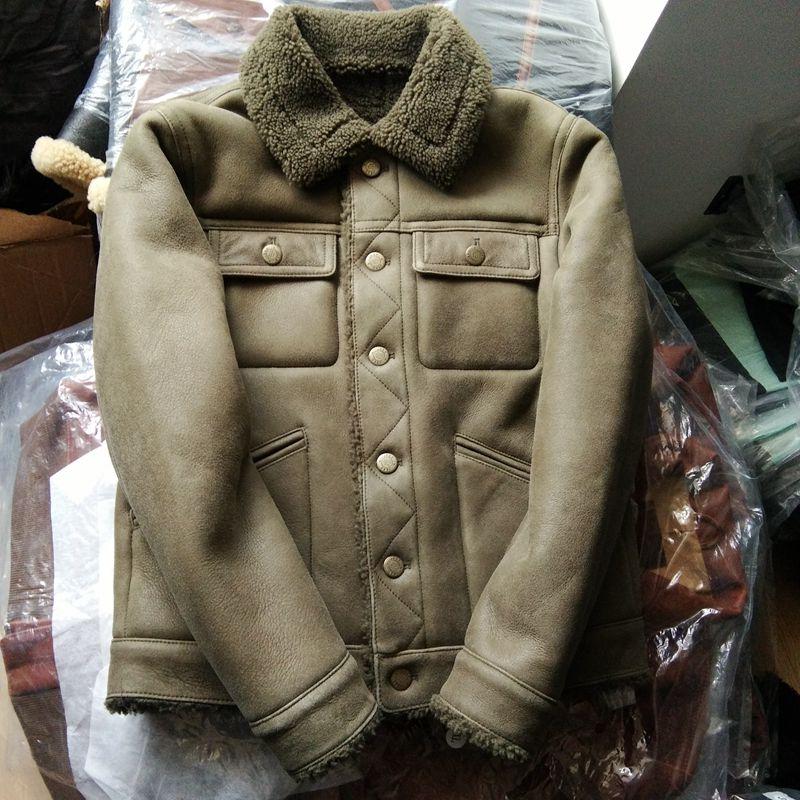 507 Lesen Beschreibung! Asiatische Größe Qualität Super Warm Echte Schafe Leder Jacke Herren B3 Lammfell Bomber Militär Pelz Mantel Hohe QualitäT Und Geringer Aufwand