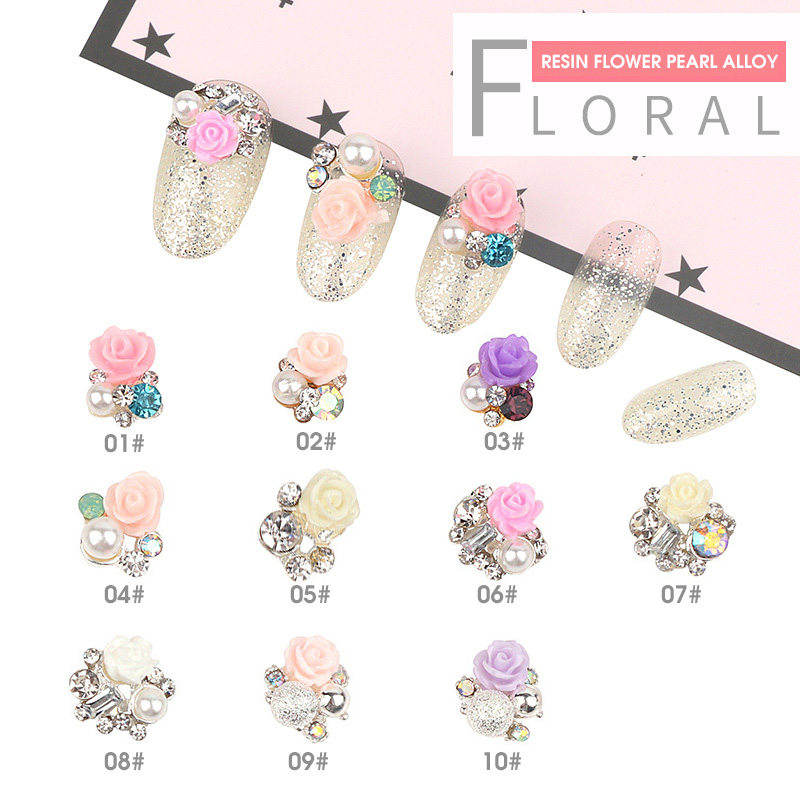 10pcs 3D Alloy Nail Art Decoration Rose Flowers With