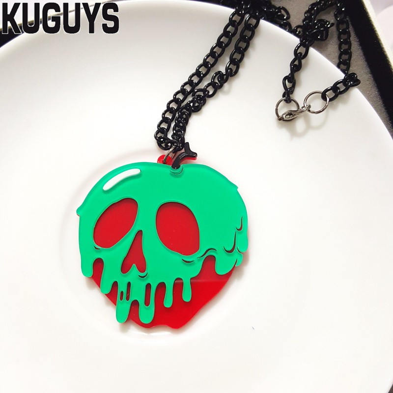 KUGUYS Trendy Jewelry Skeleton Necklace for Women Fashion Acrylic Apple Skull Pendant Necklace Sweater Chain