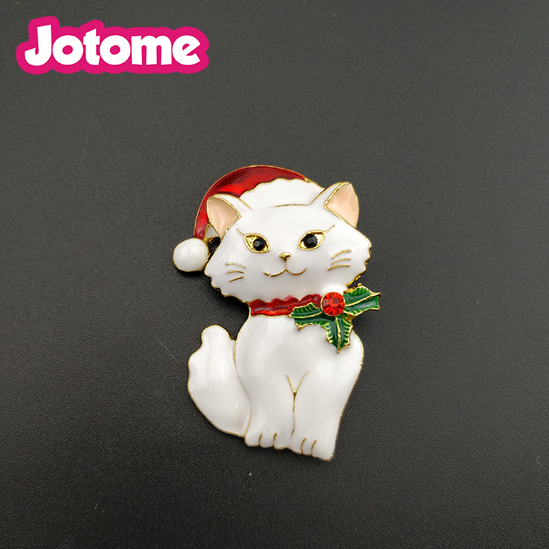 Gold tone Chidren gift style enamel 45mm cute animal cat Christmas brooch pins