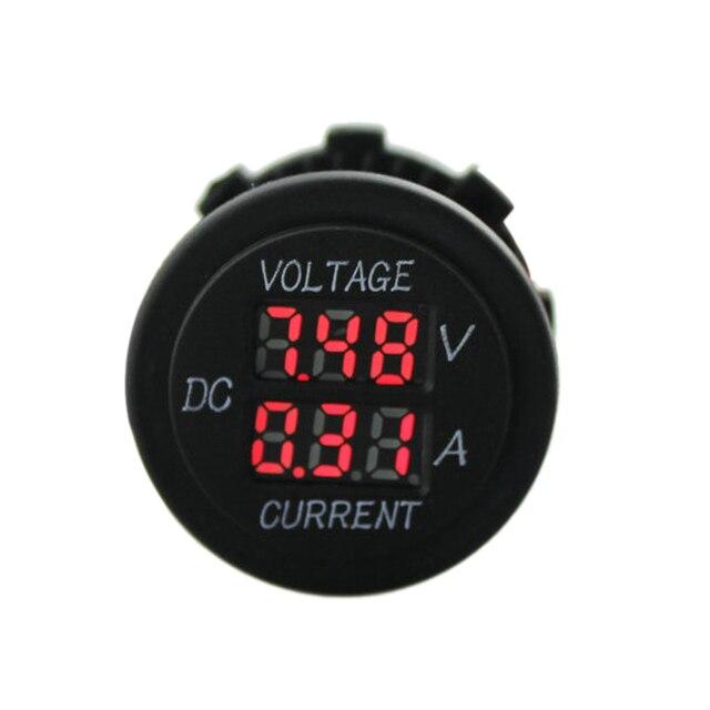 Hot Auto Car Motorcycle 12V/24V Digital Display Ammeter +Voltage Meter Red LED Indicator