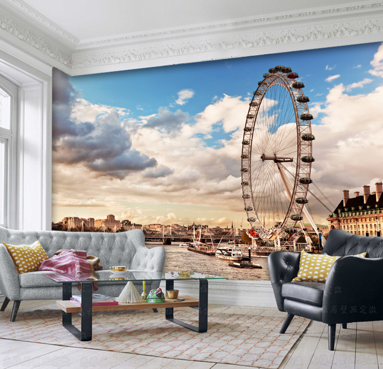 Continental London Ferris Wheel 3D Large Scale Mural Living Room Wallpaper Background Cafe Restaurant Lounge In Wallpapers From Home Improvement