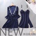 Nova Verão sexy camisola De Cetim pijamas femininos Spaghetti Strap Lace pijamas robes nightgowns para as mulheres Sleepwear Seda De 100%