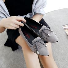 Pointed Toe Tassel Bowtie Women's Shoes Black Grey Shallow Mouth Zapatos Mujer Slip on Flats Casual Dress Sapato Feminino