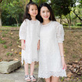 New summer style mother daughter dresses 2 layers lace family look mom kid matching clothes  baby girl dress children clothing