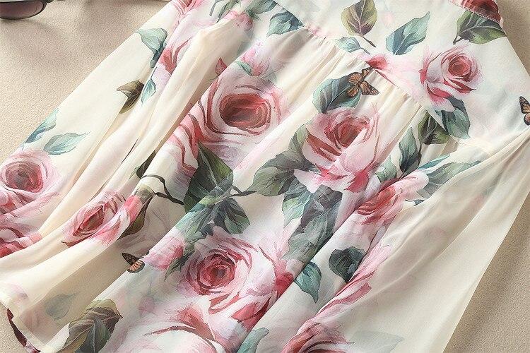 Hauts de piste 2018 printemps femmes élégant à manches longues imprimé Floral Bow soie mousseline de soie Blouse coréenne chemise femmes - 5