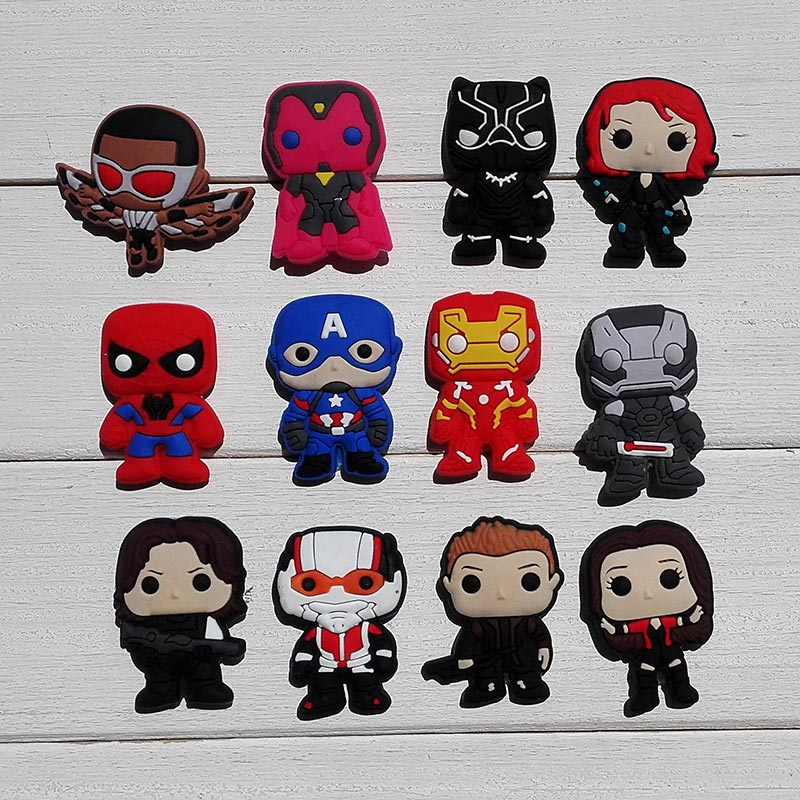 Free 12pcs Avengers shoe decoration/shoe charms/shoe accessories for Bands fit bracelet/wristbands Kids love them boys like free shipping new 100pcs avengers pvc shoe charms shoe accessories shoe buckle for wristbands bands