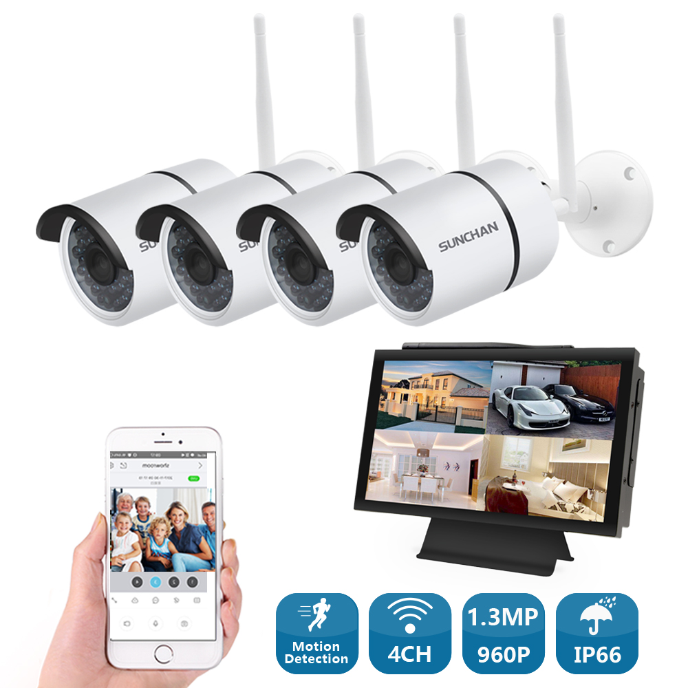 SUNCHAN 4 CH 960P HD System Waterproof Surveillance System 1.3MP  Outdoor Security Camera 4 Channel CCTV NVR Kit AHD Camera Set