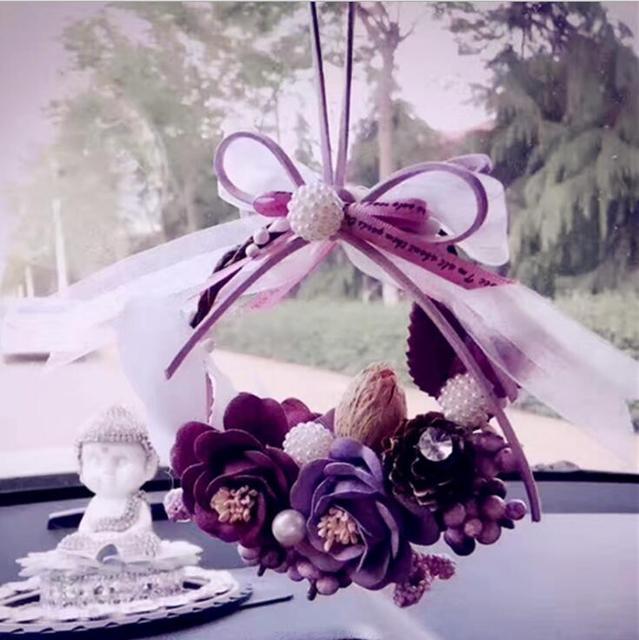 MR TEA Crystal Eternal Flower Car Hanging Ornament Car Rear View Mirror Pendant Romantic Women Auto