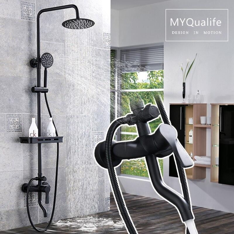 Матовый черный дождевой смеситель для душа набор Однорычажный смеситель для ванны смеситель для душа с полка для хранения душа Горячий Хол...