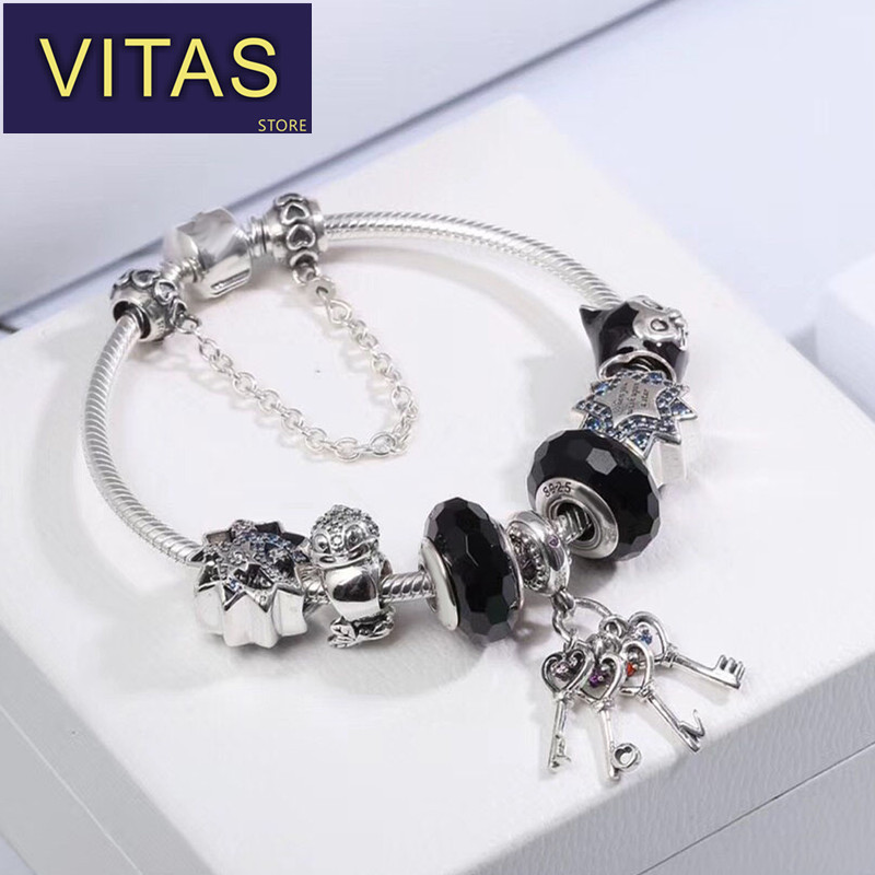 ViTas PAN sterling silver 100% 2018 new finished bracelet young style fashion black mysterious European style fashion style