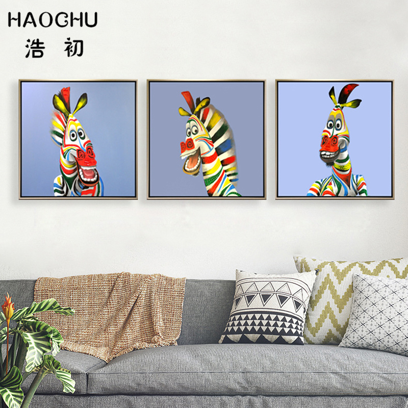 HAOCHU Triptych Lovely Funny Colorful Zebra Animal Canvas Painting Grease Paint Wall Pictures Simple Poster Living Room Decor