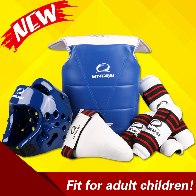 5 pcs WTF approved Taekwondo protectors suite Helmet chest shin arm guards Child karate headgear MMA kick body hugo Helmets taekwondo protective gear set wtf hand chest protector foot shin arm groin guard helmet 8pcs children adult taekwondo karate set