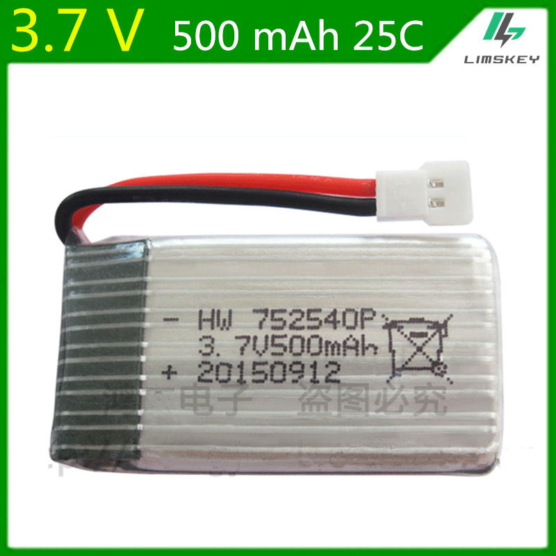 3.7V <font><b>500mAh</b></font> Lipo <font><b>Battery</b></font> For Syma X5C X5SC Cheerson CX-30 H5C 398 868 <font><b>3.7</b></font> V 500 mAh li-po <font><b>battery</b></font> 752540 wholesale 20pcs/lot image