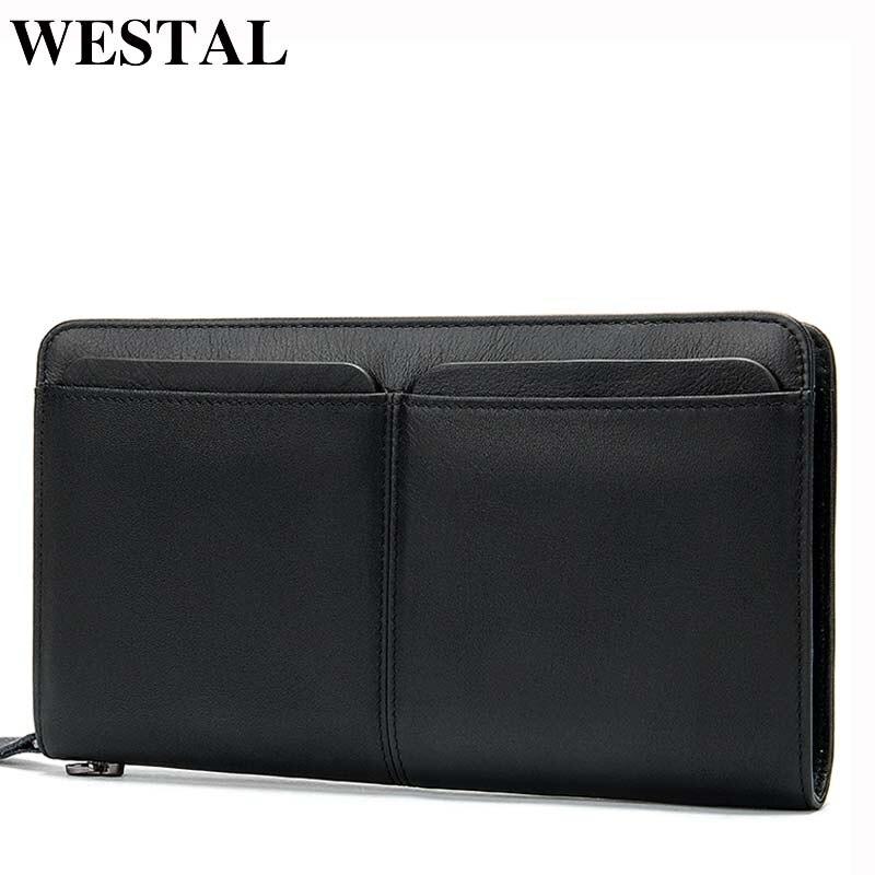 WESTAL Men's Wallets Genuine Leather Long Wallet Clutch Male Purse for Men Zip Man Wallets Phone Wallet Card Holders 9020