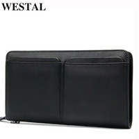 WESTAL Men's Wallets Genuine Leather Wallet Long Slim Phone Wallet Purse Card Holder Coin Purse Men Clutch Bag Male Wallets 9020
