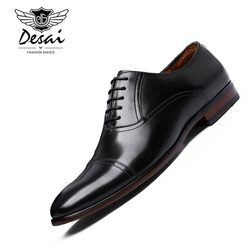 DESAI Brand Full Grain Leather Business Dress Shoes Men Retro Patent Genuine Leather Oxford Shoes for Men EUR Size 38-47